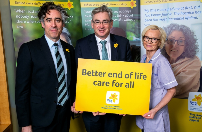 Julian Knight MP with Stephen Mangan and Patricia McDonnell.