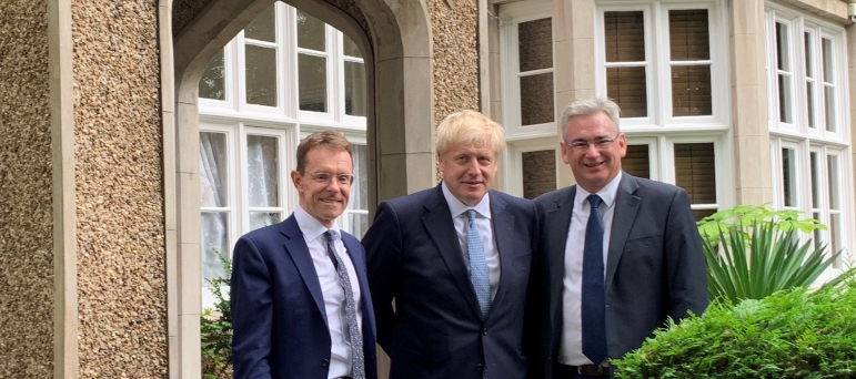 Julian Knight MP with Boris Johnson and Andy Street.